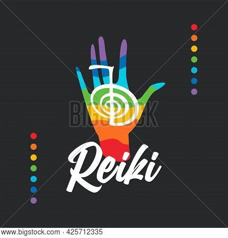 Healing Reiki Energi. Logotype. Reiki Symbol. Spiritual Practice. The Colors Of The Chakras In The H