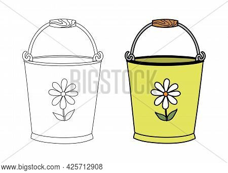 Empty Tin Bucket With A Handle And A Drawing Of Flower In A Simple Flat Graphic Outline Style. Linea