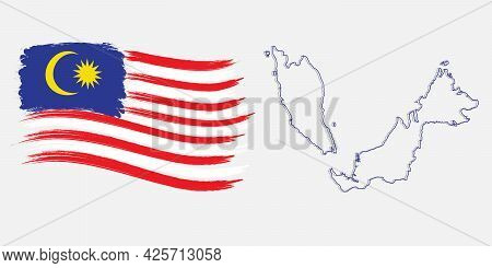 A Vector Of Malaysia Flag In Brush Stroke And Map. Banner, Template And Celebration Wish Concept