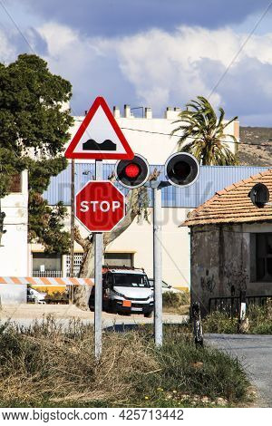 Torrellano, Alicante, Spain- July 3, 2021: Signposted Level Crossing In Torrellano A Small Village O