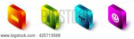 Set Isometric Paper Adhesive Sticker, Marker Pen, Paint Brush And Smile Face Icon. Vector