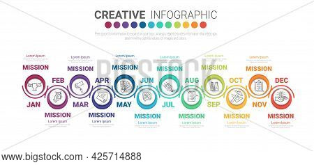 Presentation Business For 12 Months, 1 Year, Can Be Used For  12 Options, Steps Or Processes.