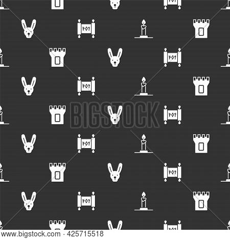 Set Burning Candle In Candlestick, Castle Tower, Rabbit With Ears And Magic Scroll On Seamless Patte