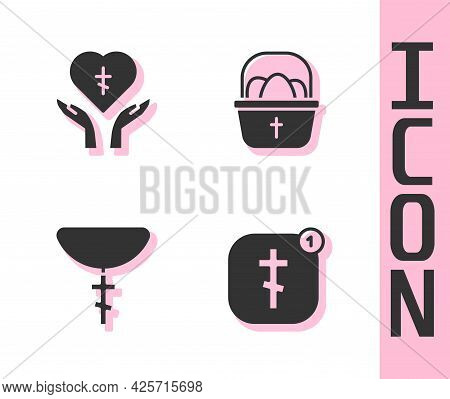 Set Online Church Pastor Preaching, Religious Cross Heart, Christian On Chain And Basket With Easter