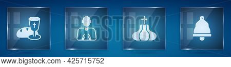 Set Goblet And Bread, Hands In Praying Position, Church Tower And Bell. Square Glass Panels. Vector