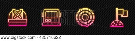Set Line Solar System, Astronomical Observatory, Astronaut Helmet And Moon With Flag. Glowing Neon I
