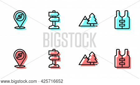 Set Line Mountains With Tree, Compass, Road Traffic Signpost And Life Jacket Icon. Vector