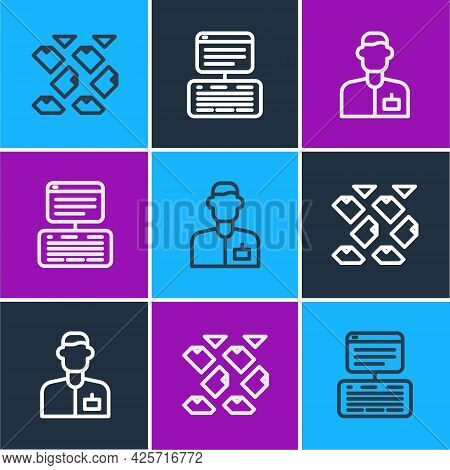 Set Line Data Stream, Analyst Engineer And Server, Data, Web Hosting Icon. Vector
