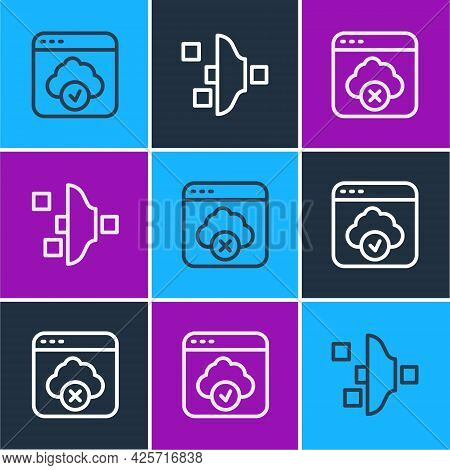 Set Line Cloud Technology Data Transfer, Failed Access Cloud Storage And Filter Setting Icon. Vector