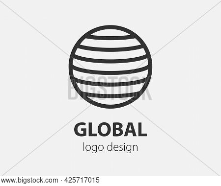 Geometric Vector Logo In A Circle. High Tech Style Logotype For Nano Technology, Cryptocurrency And