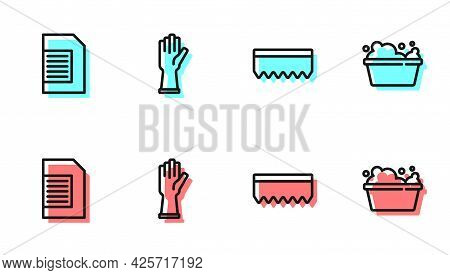 Set Line Sponge, Laundry Detergent, Rubber Gloves And Basin With Soap Suds Icon. Vector