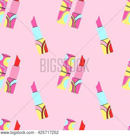 Red Lipstick Seamless Pattern. Female Beauty Makeup Element On Pink Background Poster Or Card. Trend
