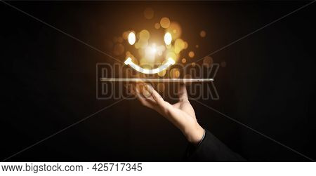 Customer Service And Satisfaction Concept ,businessman Pressing Smiley Face Emoticon On Virtual Touc