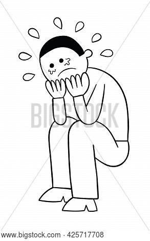 Cartoon Man Is Crouching On The Ground And Crying, Vector Illustration. Black Outlined And White Col