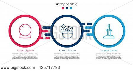 Set Line Magic Ball, Witch Cauldron And Sword In The Stone. Business Infographic Template. Vector