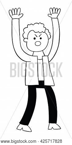 Cartoon Man Angry And Shouting, Vector Illustration. Black Outlined And White Colored.