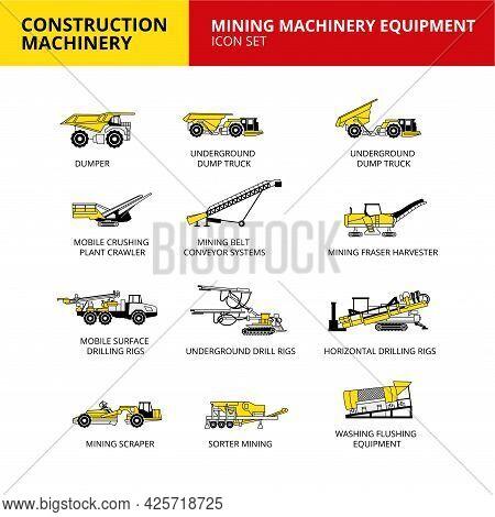 Mining Machinery Equipment Vehicle Construction Machinery Transport Icons Set