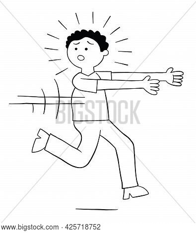 Cartoon Man Is Afraid And Runs Away, Vector Illustration. Black Outlined And White Colored.