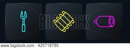 Set Line Barbecue Fork, Salami Sausage And Grilled Pork Bbq Ribs. Black Square Button. Vector