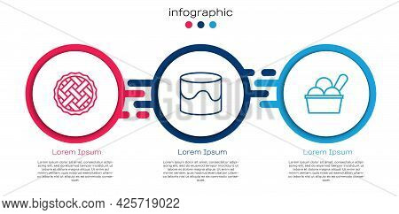 Set Line Homemade Pie, Cake And Ice Cream In Bowl. Business Infographic Template. Vector