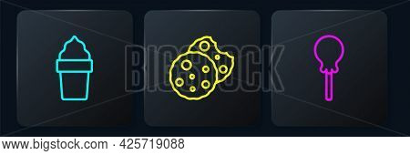 Set Line Ice Cream In Waffle Cone, Lollipop And Cookie Or Biscuit. Black Square Button. Vector