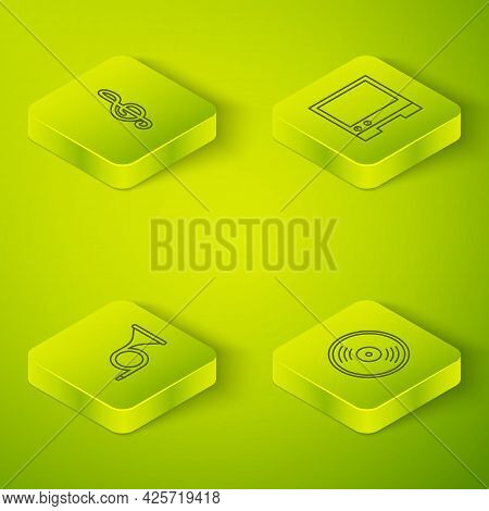 Set Isometric Line Voice Assistant, Trumpet, Vinyl Disk And Treble Clef Icon. Vector