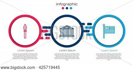 Set Line Medieval Spear, Parthenon And Greece National Flag. Business Infographic Template. Vector