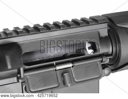 Empty Chamber On An Ar-15 Without A Magazine Inserted Isolated On White