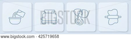 Set Line Saucepan, Broken Egg, Toaster And Rolling Pin On Dough. White Square Button. Vector