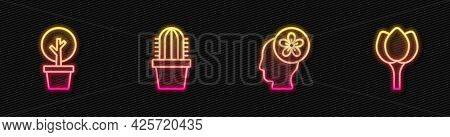 Set Line Human Head With Flower Inside, Forest, Cactus Peyote Pot And Flower Tulip. Glowing Neon Ico