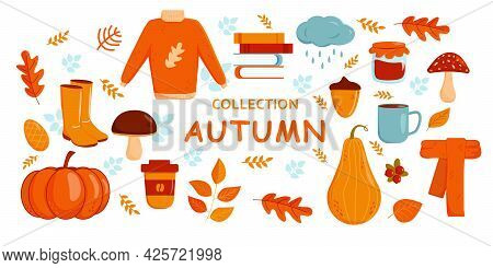 Autumn Set. Collection Of Autumn Items, Sweater, Leaves And Vegetables In Flat Cartoon Style. Autumn