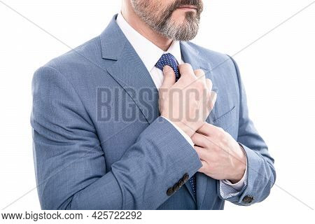 All Should Be Perfect. Cropped Boss Straighten Tie. Mature Businessman In Formalwear.