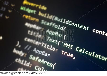 Screen Of Flutter Application Developing Code. Lines Of Code On Computer Screen Abstract