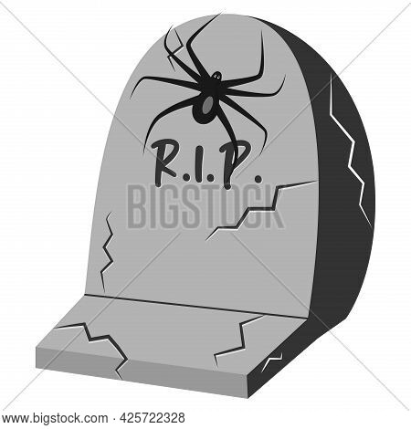 Halloween Grave With Text R.i.p. And Spider. Vector Illustration.