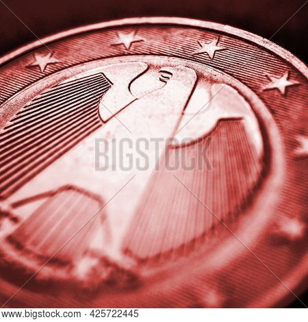 1 Euro Coin Issued In Germany Close-up. Obverse With The Federal Eagle. Dark Red Tinted Square Illus