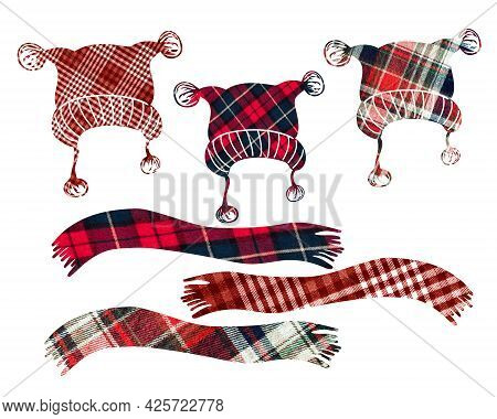 Decorative Hats With A Scarf. Can Be Used As Stickers, Decorative Element, Magnets, Cut Out And Turn