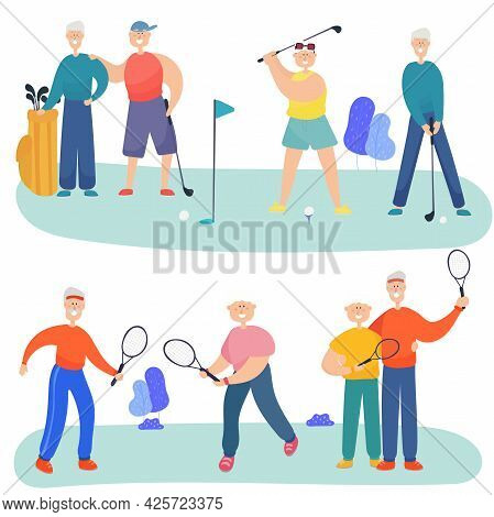 Older Men And Grandmothers Play Golf And Tennis. Friends Spend Time Together.