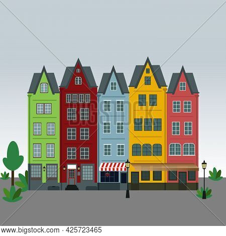 Row Of Amsterdam Style Old European Narrow Houses. Simple Vector Graphic.