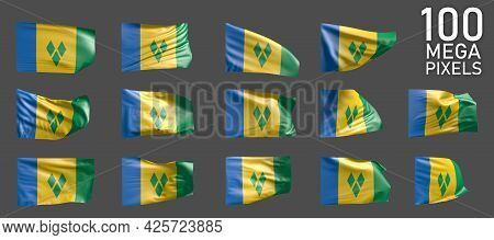 Saint Vincent And The Grenadines Flag Isolated - Different Realistic Renders Of The Waving Flag On G