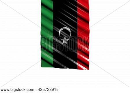 Beautiful Shiny Flag Of Libya With Big Folds Hangs From Top Isolated On White - Any Occasion Flag 3d