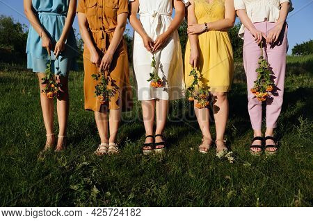 Womens Diversity, Girl Power, Femininity Concept. Group Of Five Happy Young Women Holding Roses Flow