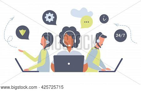 Customer Service Workers With Headsets And Laptops Service Or Consult Customers On Computers.hotline