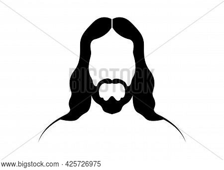 Jesus Christ, Graphic Portrait Vector Black Silhouette Isolated On White Background