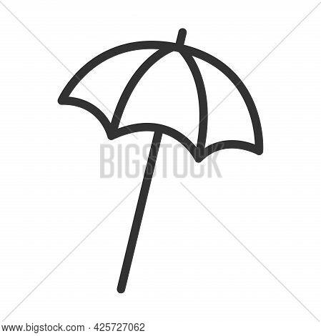 Beach Umbrella Line Icon , Summer Concept, Umbrella Sign On A White Background, Sun Umbrella Icon Fo