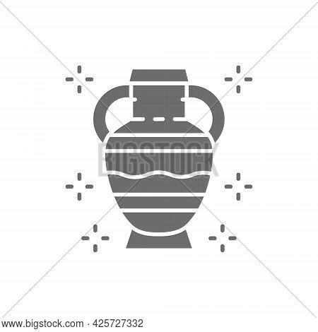 Amphoras, Ancient Greek Pottery, Primitive Clay Jug Gray Icon.