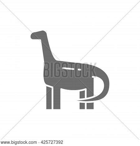 Brachiosaurus, Brontosaurus, Dinosaur, Prehistoric Era Gray Icon.
