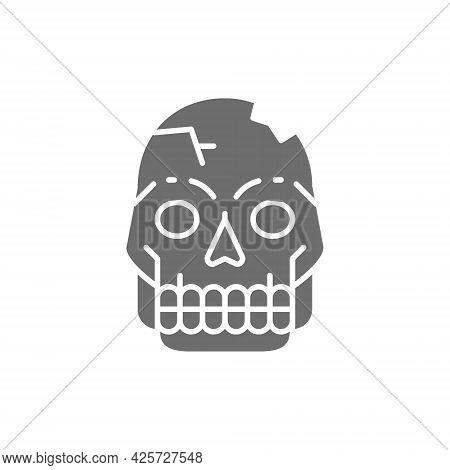 Primitive Man Skull, Pithecanthropus Bones, Human Remains Gray Icon.