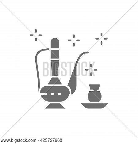 Traditional Saudi Arabian Tea, Arabian Drink Gray Icon.