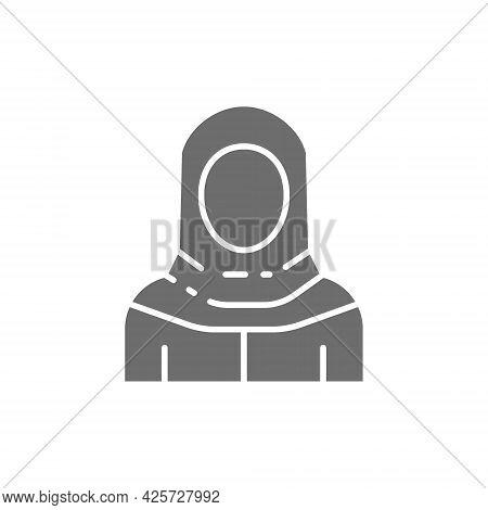 Arabian Woman In Traditional National Dress, Bedouin Gray Icon.