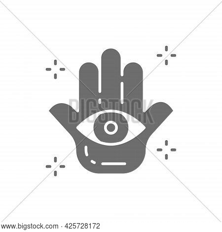 Hand Of Fatima, Hamsa Mascot, Talisman, Amulet Gray Icon.